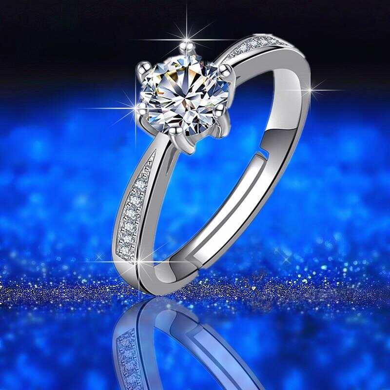 Xiaohongshu Live Drainage Explosive Model D Color Moissan Diamond Open Ring pt950 Hearts and Arrows Live Ring